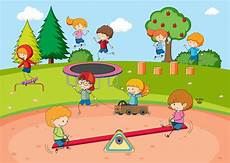 Playing Kids Cartoon Children Playing At Playground Download Free Vectors