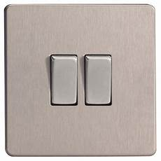 B And Q Light Switches Varilight 10a 2 Way Double Brushed Silver Effect Light