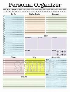 Daily Organiser Template Personal Organizer Editable Daily Planner Weekly Planner