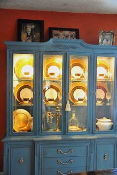 diy china cabinet lighting inside and painted china