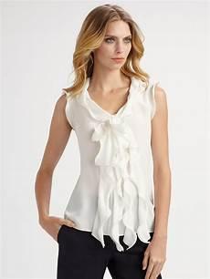 sleeveless ruffle blouse oscar de la renta ruffle front sleeveless blouse in white
