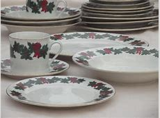 vintage Libbey china dinnerware, Bows of Holly Christmas