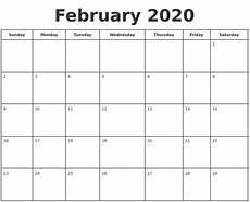 Calendar Forms 2020 February 2020 Print A Calendar