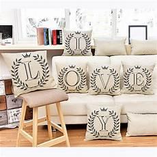 square 18 quot cotton linen letters patterns printed