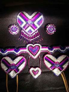 pink beaded hearts bead work american beadwork