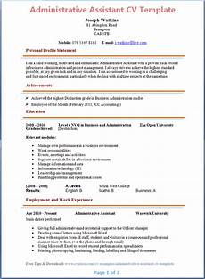 Resume Format For Admin Officer Administrative Assistant Cv Template Page 1 Preview
