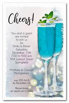 Cocktail Party Invitation Blue Cocktails Holiday Christmas Party Invitations