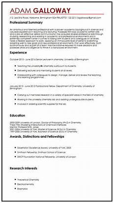 Academic Cv Format Download Academic Cv Example Myperfectcv