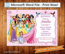 Princess Disney Invitations Disney Princess Invitation Disney Princess Birthday Invite
