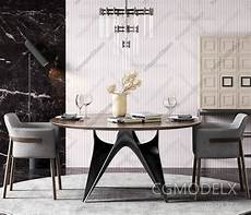 Dining Sofa 3d Image by Scandinavian Dining Table And Chairs Suit 3d Model 3d Model