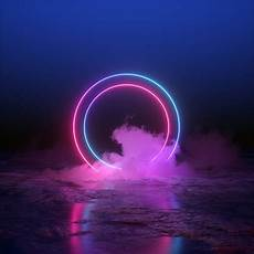 Light Blue And Light Pink 3d Render Abstract Background Round Portal Pink Blue Neon