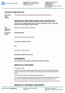 Contractor Contract Sample Contract Agreement For Construction Work Sample Template