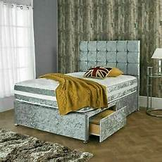 crushed velvet divan bed with matching mattress and free