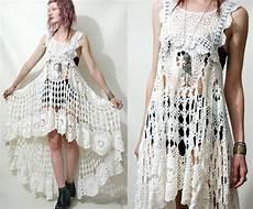 crochet dress vintage lace white fishtail bohemian