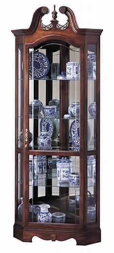 cherry corner curio cabinet beveled glass interior