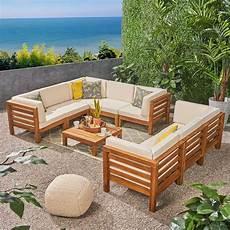 noble house jonah teak 9 wood outdoor sectional sofa