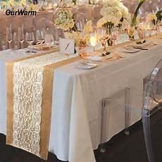 ourwarm table runner burlap lace wedding decoration