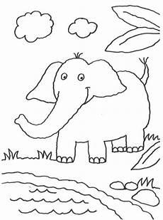kostenlose malvorlage tiere elefant am teich zum ausmalen