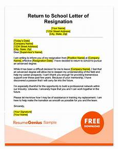 Resignation Letter Going Back To School Life Specific Resignation Letters Samples Resume Genius