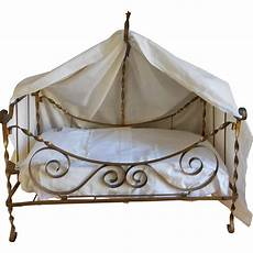 gorgeous antique metal doll bed approx 1900