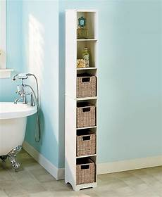 narrow storage tower cabinet shelf seagrass baskets