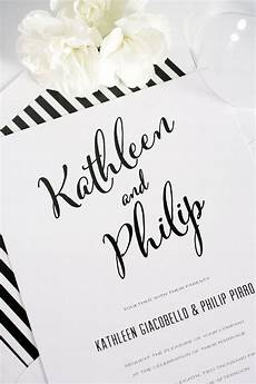 White On White Wedding Invitations Modern Calligraphy Wedding Invitations In Black And White