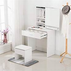 mecor vanity table set with sliding mirror drawers wood