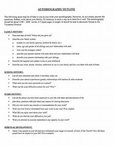 Auto Biography Outline How To Write An Autobiography Outline 10 Examples