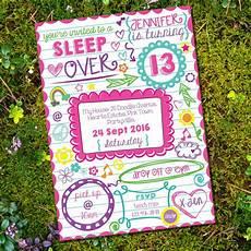 Girl Slumber Party Invitations Sleepover Doodle Invitation Tween Party Slumber Party