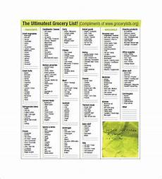Normal Grocery List 13 Blank Grocery List Templates Pdf Doc Xls Free