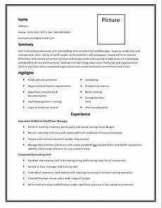 Free Chef Cv Template Chef Resume Templates 6 Free Printable Cv Word Templates