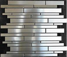 stainless steel kitchen backsplash tiles quot random stacked quot stainless steel mosaic tile metal silver