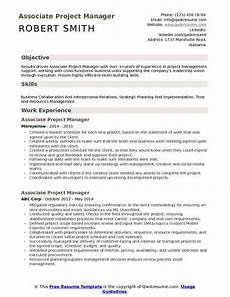 Project Manager Resume Objectives Associate Project Manager Resume Samples Qwikresume