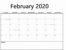 2020 Fillable Calendar February 2020 Calendar Calendar Kart