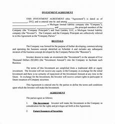 Sample Investor Agreement Sample Business Investment Agreement 7 Free Documents