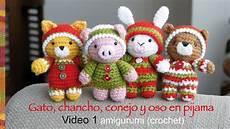 gato chancho y conejo beb 233 s en pijamas crochet