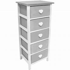 hartleys white grey 5 drawer storage unit chest of