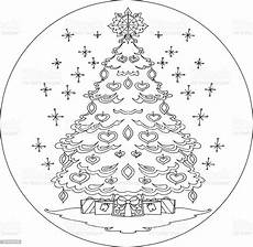 tree coloring mandala vector stock vector