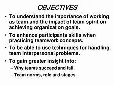 Goals And Objectives For Work Team Work
