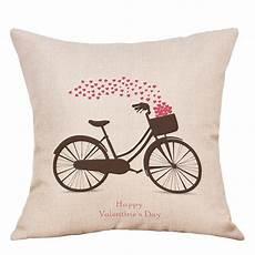 bike hearts print s day linen pillowcase