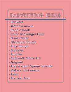 Babysitting Ideas For Summer Babysitting Tips Amp Tricks Babysitting Checklist