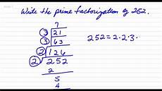 What Is Prime Factorization Write The Prime Factorization Of 252 Youtube