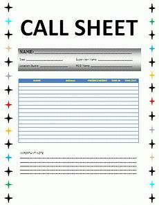Sales Call Sheets Call Sheet Template Free Word Templates