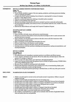 Cashier Resume Sample Resume Examples Retail Cashier Part Time Cashiers Resume