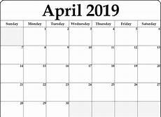 Editable Calander April 2019 Calendar Editable Printable Blank Template With