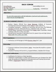 Resume In Doc Resume Templates