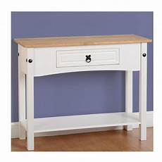corona 1 drawer console table with shelf in white