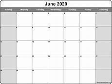 Monthly 2020 Calendar Printable June 2020 Calendar Free Printable Monthly Calendars