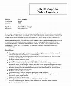 Retail Worker Job Description Sample Sales Associate Job Description 9 Examples In