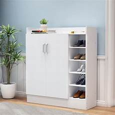 wooden shoe storage cabinet rack 17 pairs white buy